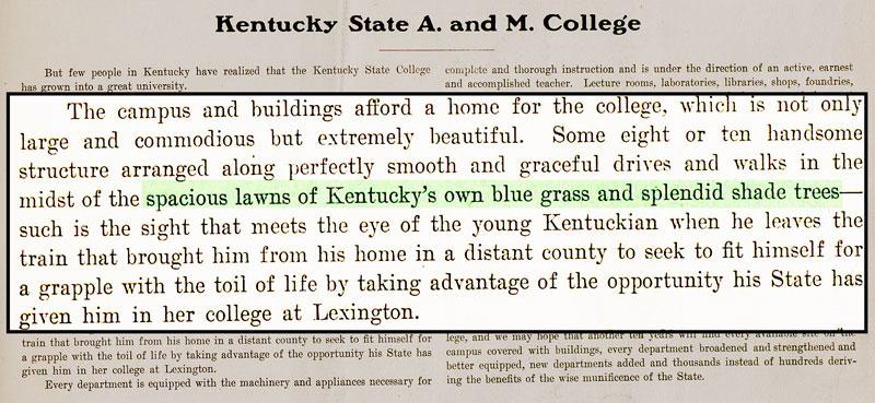 "Kentucky A & M yearbook 1903 touches upon the College's ""splendid shade trees"""