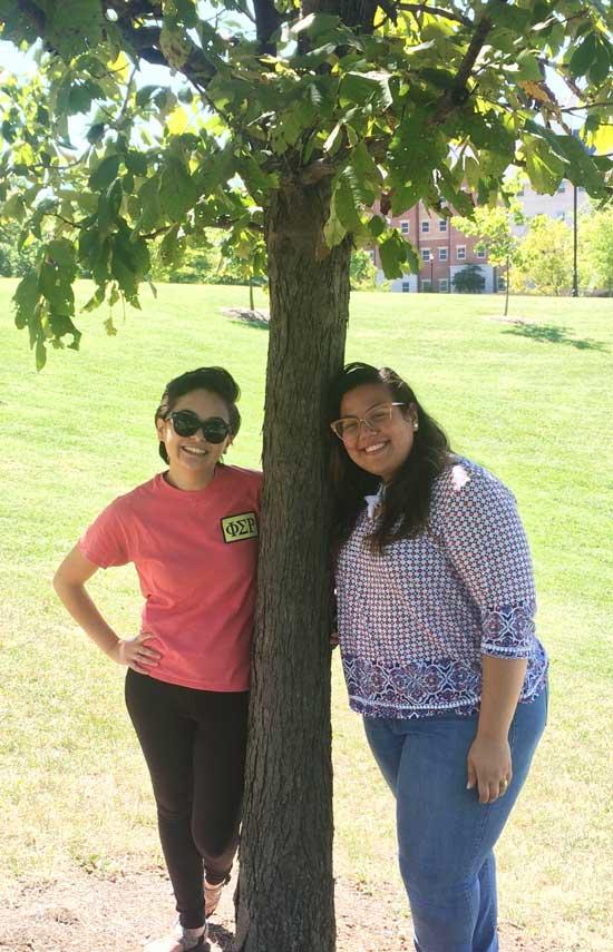 Madeleine and Gabriela and favorite tree on UK Campus (Sept 2016)